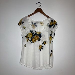 Lucky Brand Floral Short Sleeve Top Small
